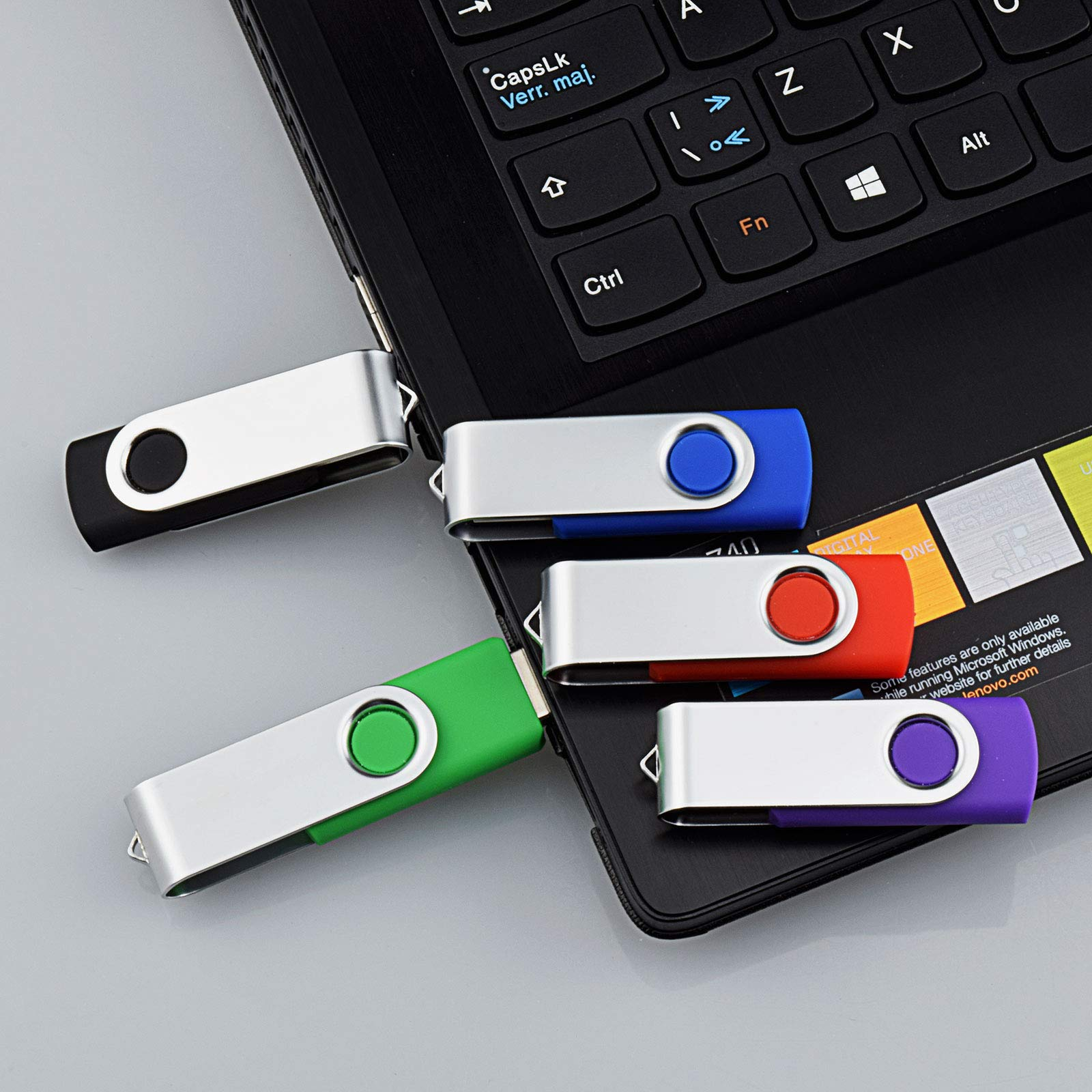 KOOTION 5 X 64GB USB2.0 Flash Drives Thumb Drives Memory Stick (5 Colors: Black Blue Green Purple Red) by KOOTION (Image #6)