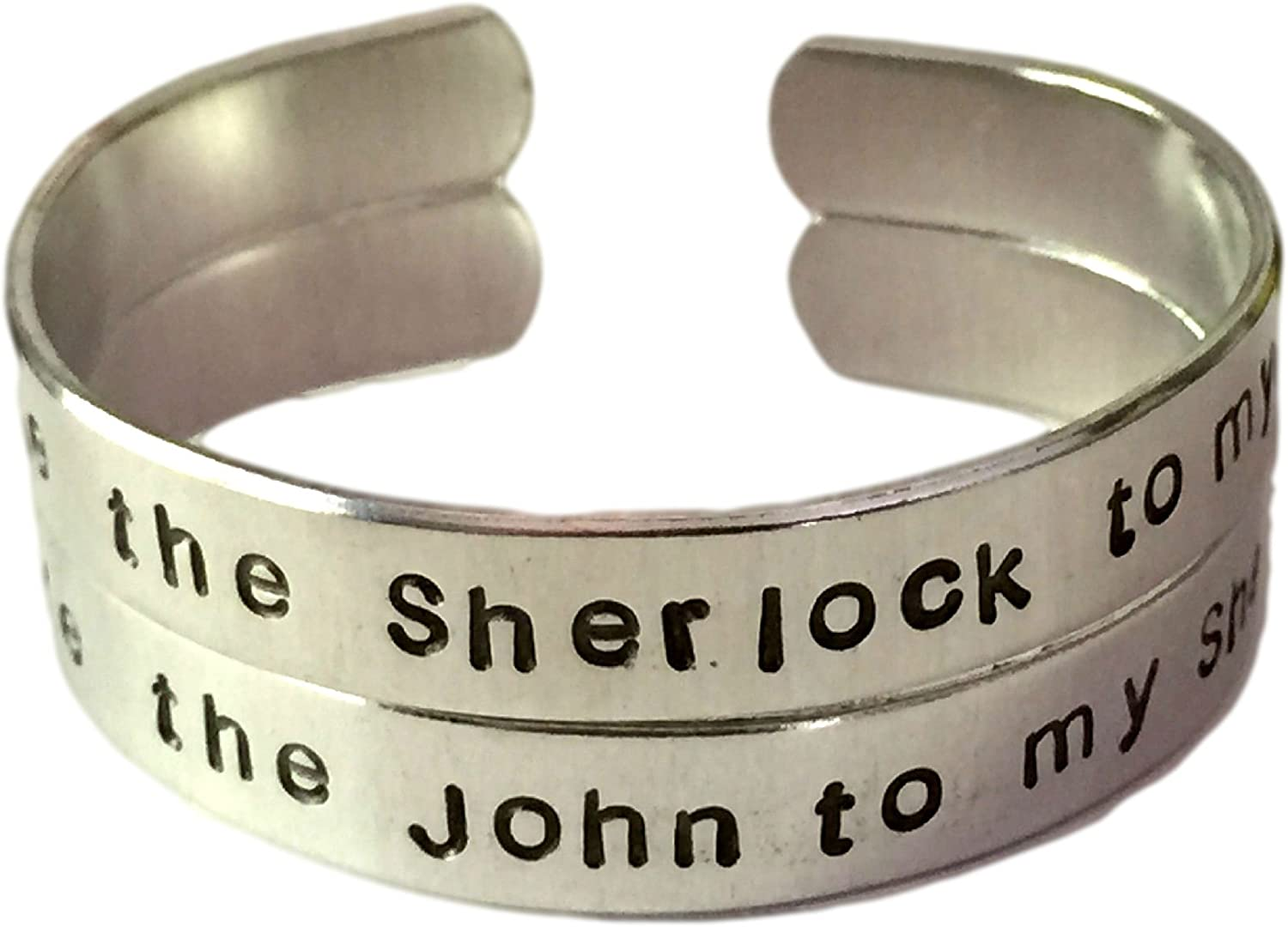 Holmes and Watson Sherlock Holmes Inspired Set of Hand Stamped Aluminum Rings Script Font