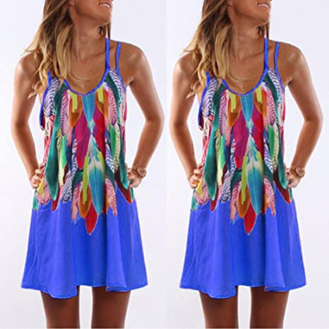 Funic Dresses, Womens Summer Boho Casual Printed Maxi Party Cocktail Beach Dress Sundress Sling Dress at Amazon Womens Clothing store: