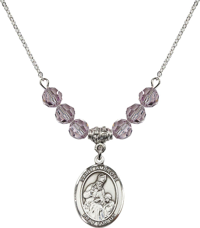 Bonyak Jewelry 18 Inch Rhodium Plated Necklace w// 6mm Light Purple February Birth Month Stone Beads and Saint Ambrose Charm
