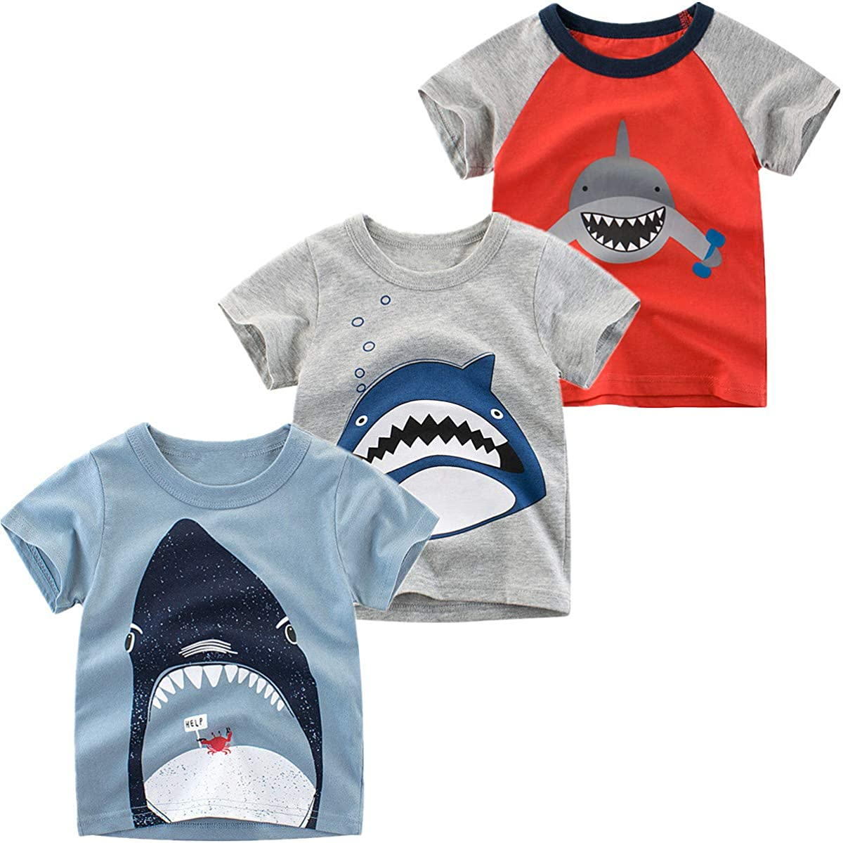 Nuziku Boys' 3-Pack Dinosaur Short Sleeve Crewneck T-Shirts Top Tee Size 2-6 Years