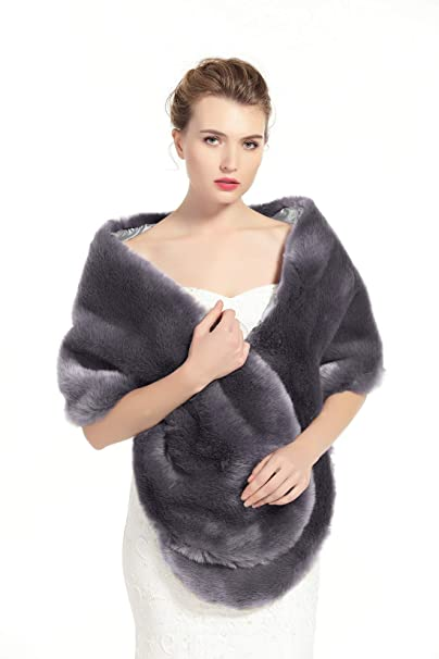 Shawls & Wraps | Vintage Lace & Fur Evening Scarves BEAUTELICATE Womens Faux Fur Shawl Stoles Wrap for Bridal/Wedding/Party-S62(12 Colors) $26.99 AT vintagedancer.com