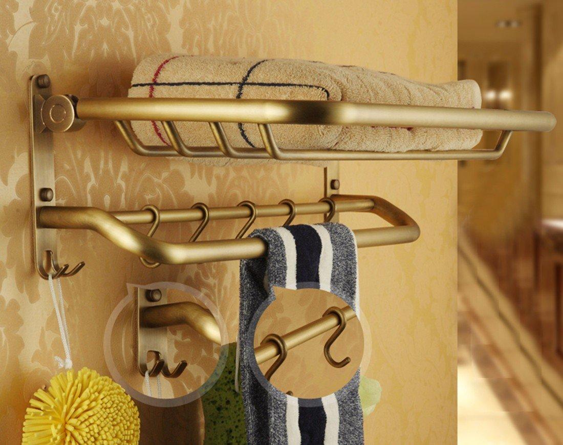 Sursy Todo el cobre antiguo estilo europeo, toallas, toallas de baño plegable, Toalla de baño, cesta de baño antiguo bastidor,D: Amazon.es: Hogar