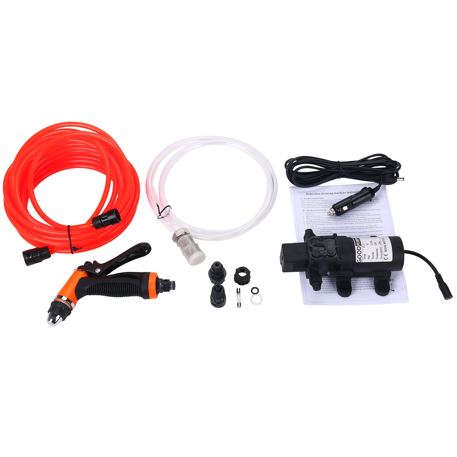 Amarine-made DC 12V Portable High Pressure Washdown Deck Pump 100W 145 PSI Self-Priming Quick Car Cleaning Wash Pump Electrical Washer Kit