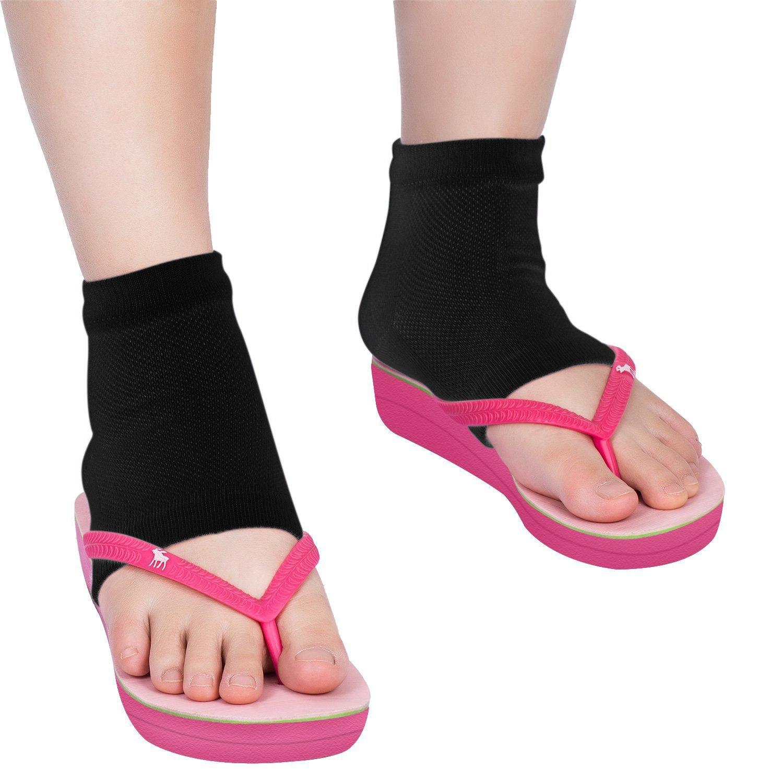 Bememo Soft Ventilate Gel Heel Socks Open Toe Socks for Dry Hard Cracked Skin Moisturizing Day Night Care Skin, 3 Pairs (Black) by Bememo (Image #6)