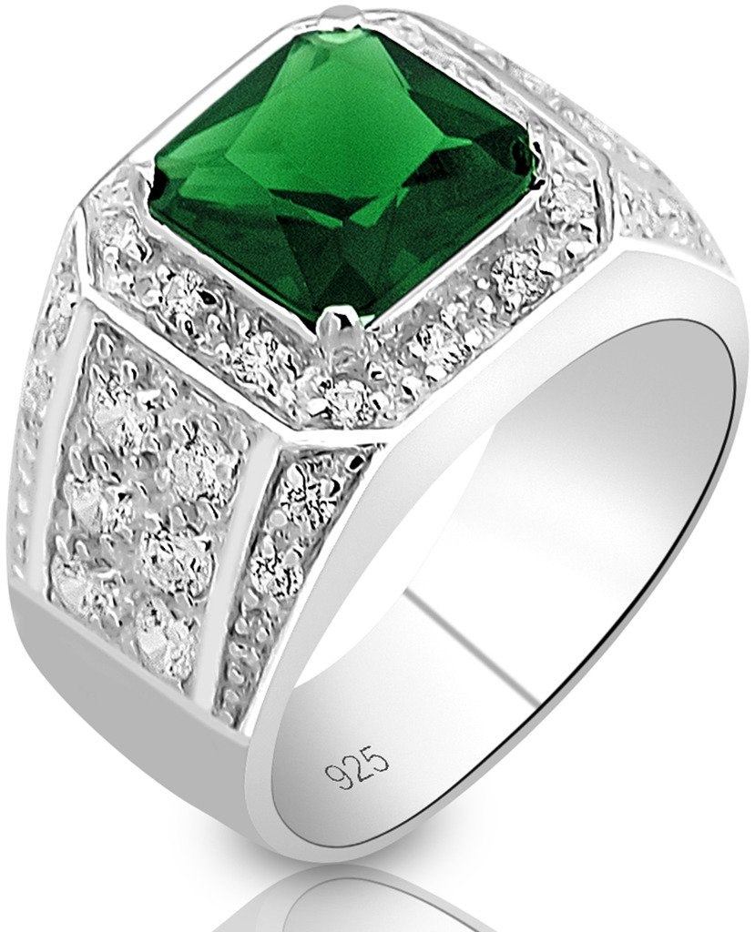 Men's Elegant Sterling Silver .925 Ring High Polish Princess Cut Featuring a Synthetic Green Emerald and 32 Fancy Round Cubic Zirconia (CZ) Stones by Sterling Manufacturers (Image #2)