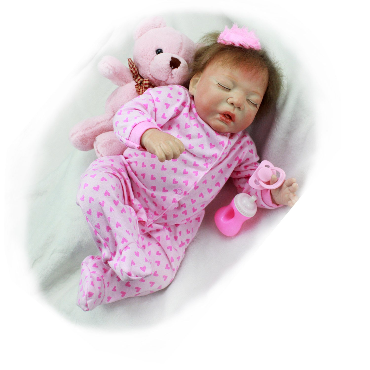 Pursue Baby Lifelike Reborn Baby Doll with Red Tongue, Mama Feeds Me! 20 Inch Soft Vinyl Cloth Body Realistic Weighted Newborn Infant Doll