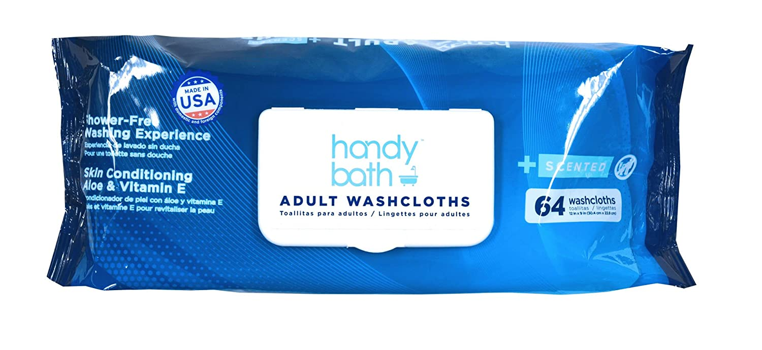 Amazon.com: Handybath Rinse Free Incontinence Adult Washcloths Personal Cleaning Wipes Extra Large Towel Size 12 x 9 Scented 64ct Tub - 12 Pack Case (Total ...