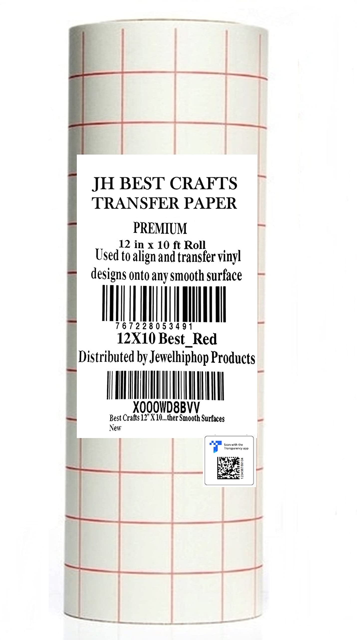 """Jh-Best Crafts12"""" X 10' Feet Roll Transfer Paper w/Grid- Perfect Alignment of Cameo or Cricut Self Adhesive Vinyl for Decals, Signs, Walls, Windows and Other Smooth Surfaces"""