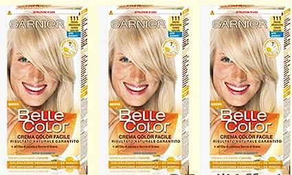 3 x Garnier Belle Color 111 Rubio Claro Ceniza Tinte para Cabello Mujer
