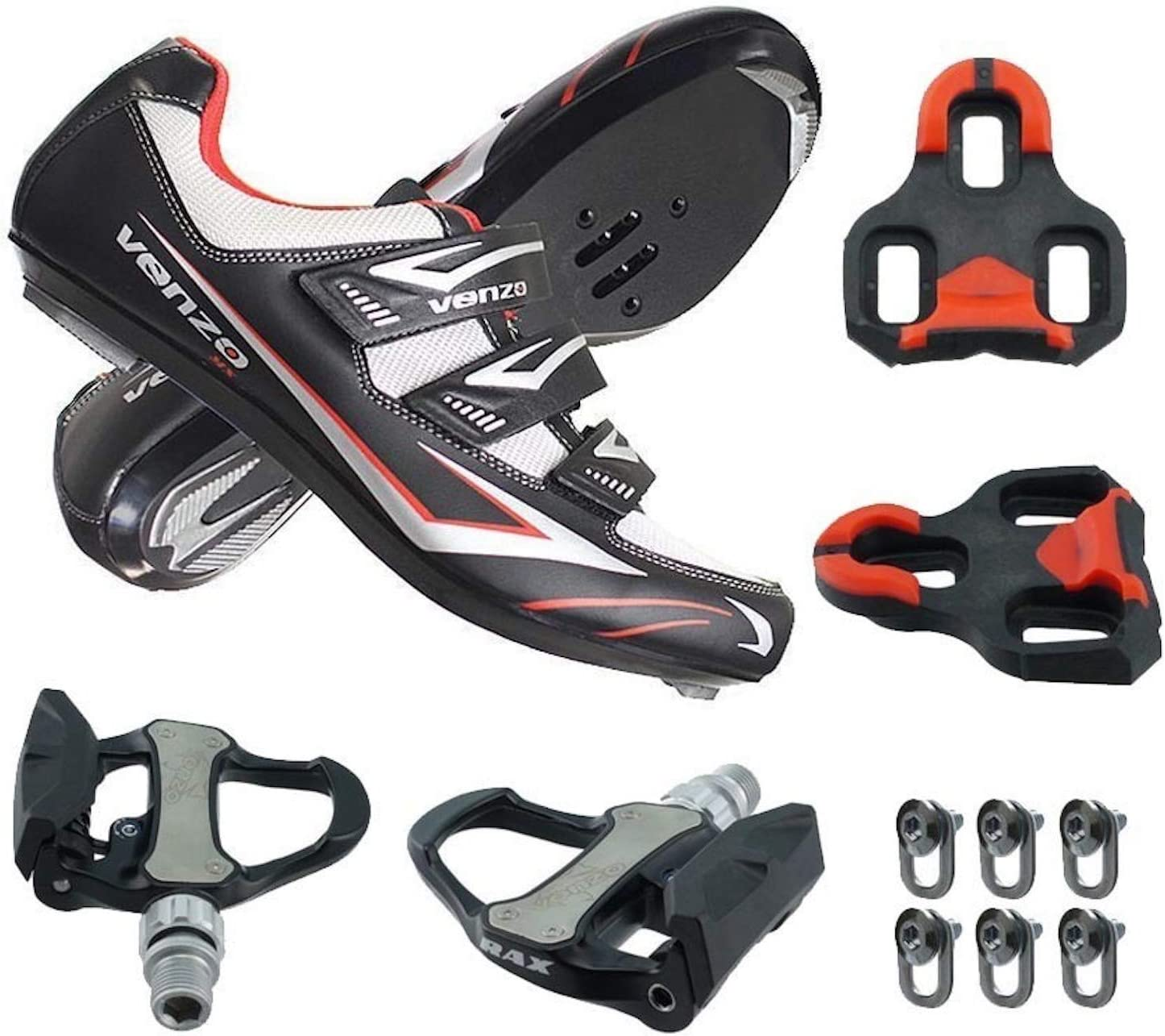 Venzo Road Bike Compatible with Shimano SPD SL Look Cycling Bicycle Shoes Pedals Black