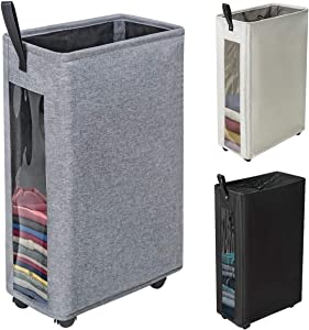 "ZERO JET LAG 27 inches Slim Laundry Hamper Large Tall Laundry Basket on Wheels Clear Window Visible Dirty Clothes Hamper Thin Clothes Storage Standable Corner Bin Handy 16""×8.6""×27"" Dark Grey"