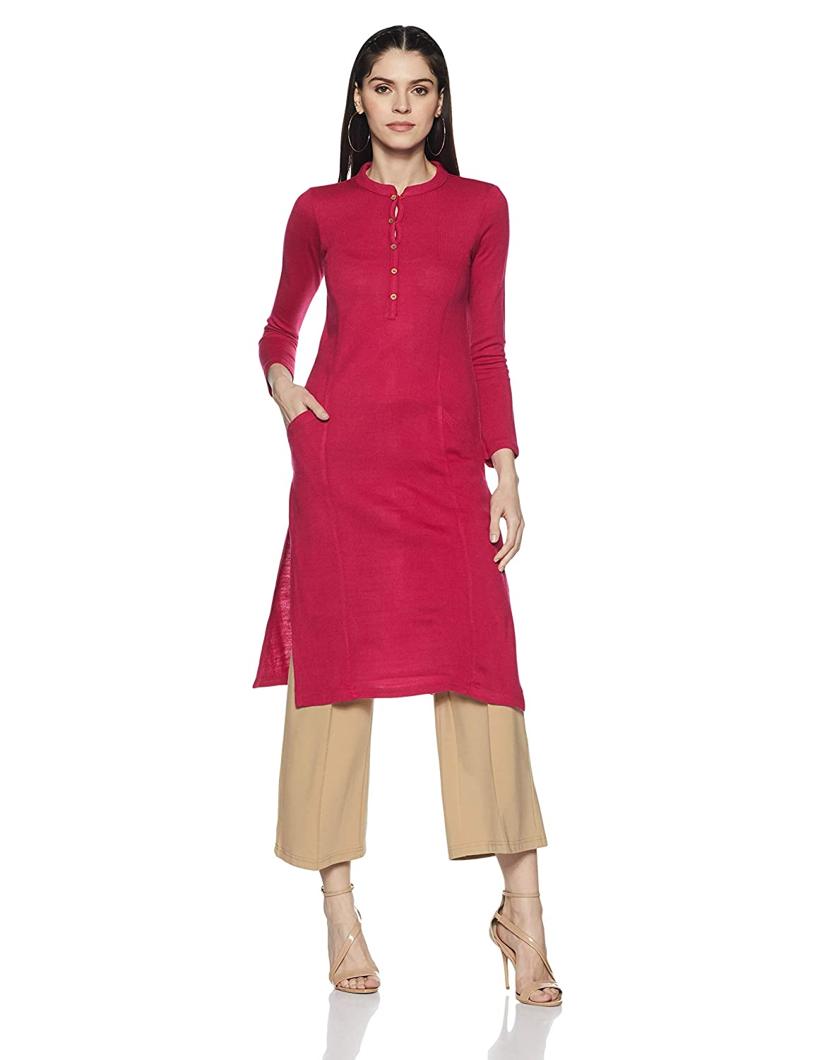 Aurelia Women's Straight Winter Kurta (18AUA10326-300345_Pink_Medium)
