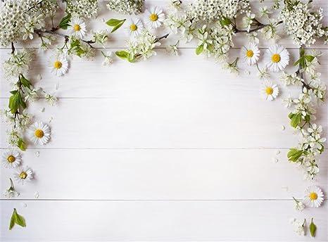 Amazon Leowefowa Vinyl 9x6ft Spring Fresh White Flowers Green