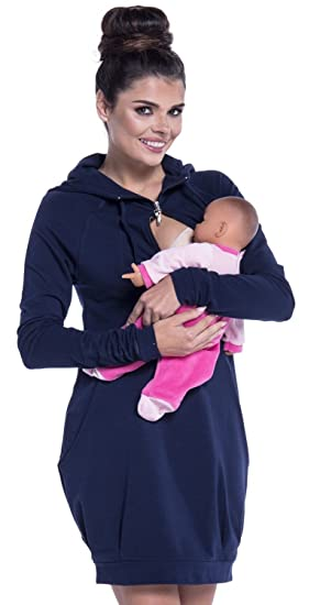 Zeta Ville - Womens Maternity Nursing Sweat Dress Hoodie - Long Sleeves - 901c at Amazon Womens Clothing store: