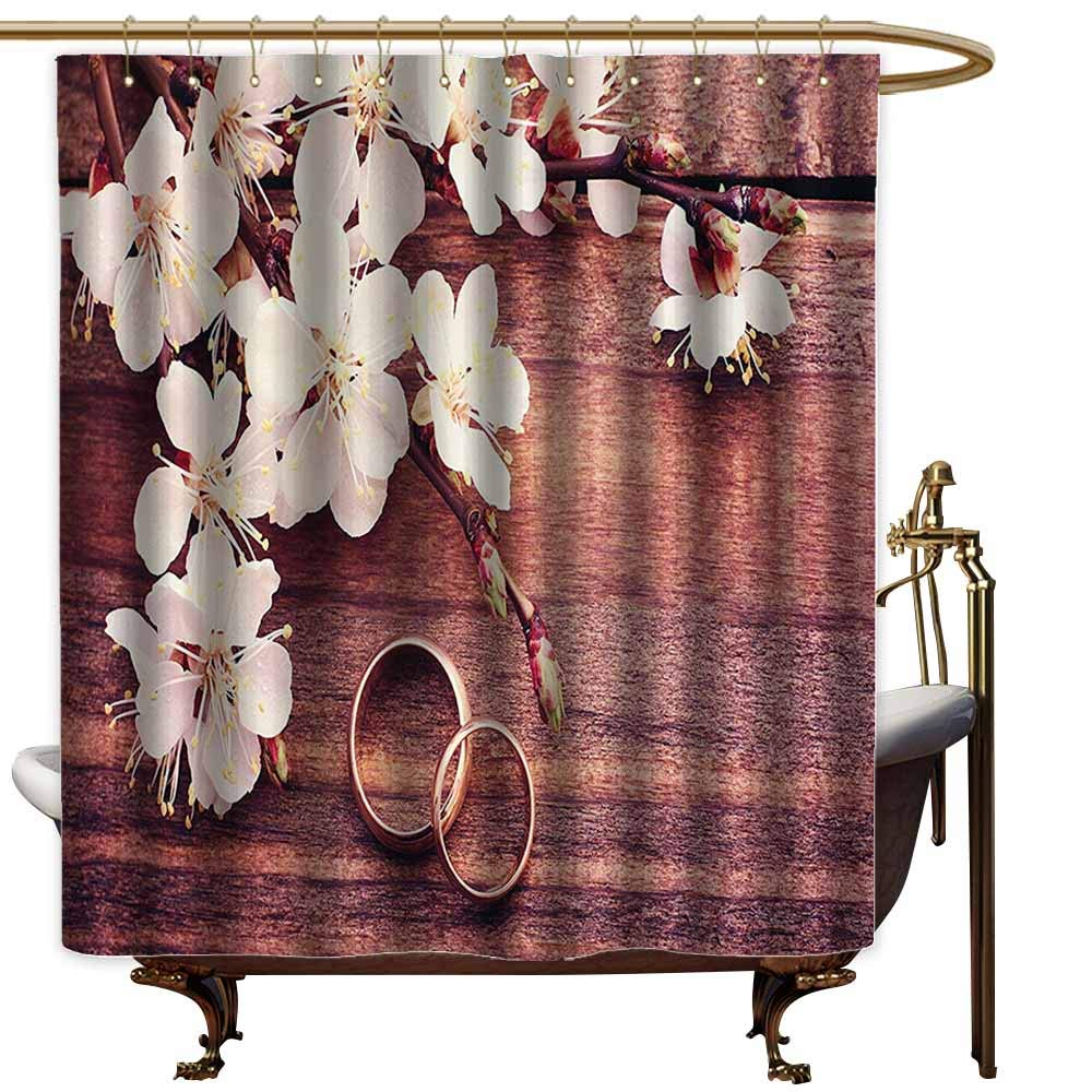 Bathtub Splash Guard,Wedding Decorations Flowering Branch Delicate Rings on Wooden Surface Rustic Effect,Shower Curtain bar,W108x72L,Brown White Gold