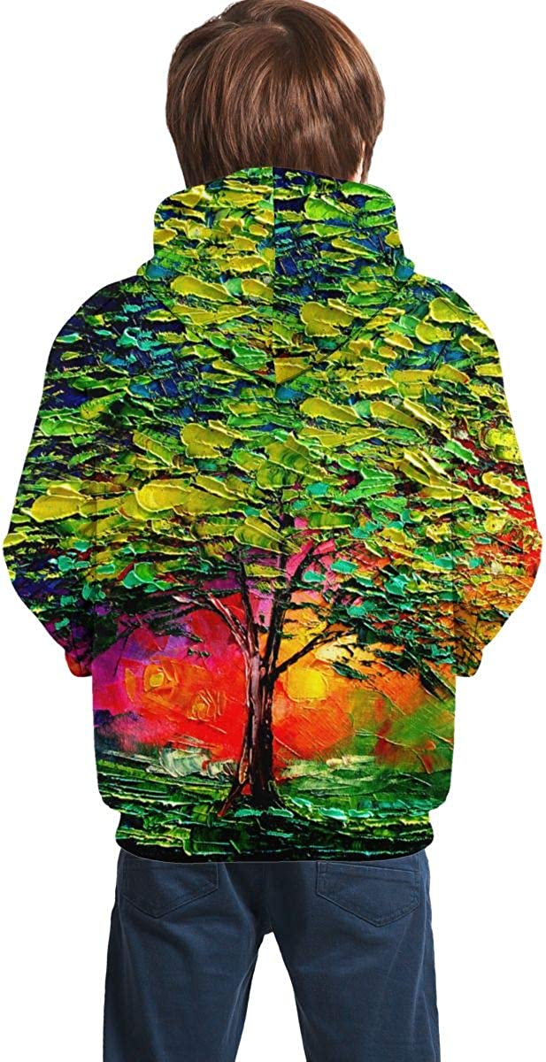 A5t445W Youth 3D Print Oil Painting Colorful Tree Hooded Sweatshirt