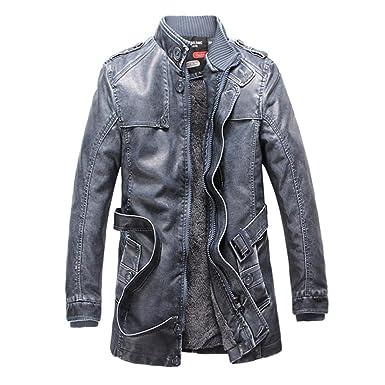 Chaqueta de cuero de Moto de invierno PU de hombre espesan capa larga de trinchera Chaqueta Abrigo de cuello de hombre hombres, blue, m: Amazon.es: Ropa y ...