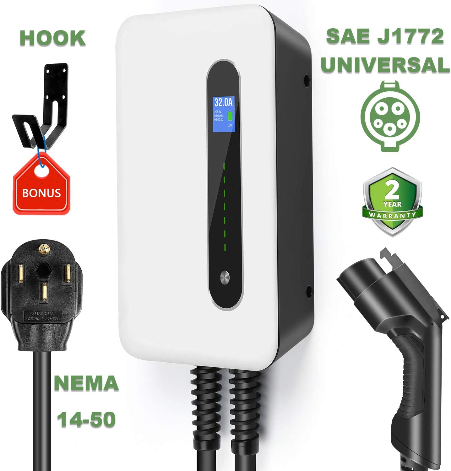 lefanev EV Charging Station 32A Level2, ev Charger 220v-240v, Electric Vehicle Charger Station NEMA 14-50, 25Feet Cable (7.5M), SAE J1772 Compatible with All Electric Vehicles (NEMA 14-50)