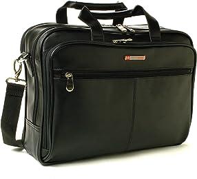 Alpine Swiss Monroe Leather Briefcase Top-Zip Laptop Messenger Bag Black