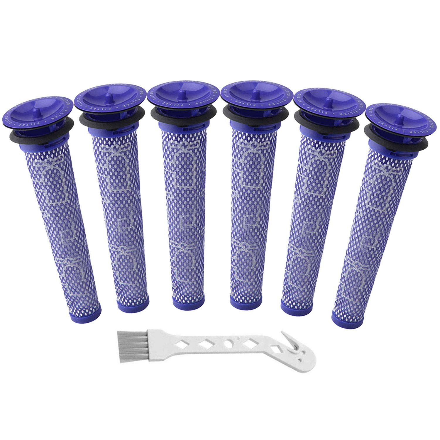 Wolfish 6 Pack Filter Replacements for Dyson Absolute Animal Motorhead V8+, V8, V7, V6, DC62, DC61, DC59, DC58 Vacuum, Replaces Part 965661-01