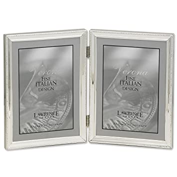lawrence frames polished silver plate 5x7 hinged double picture frame bead border design