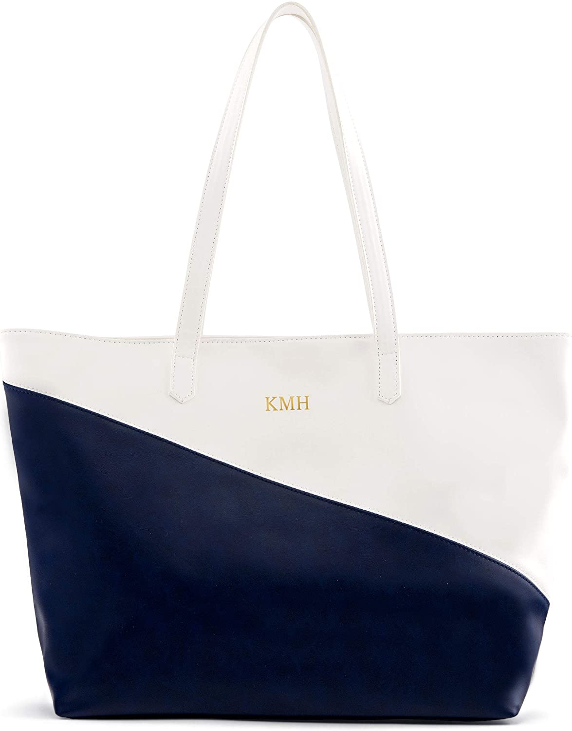 Weddingstar Large Personalized Color Block Faux Leather Tote Bag