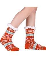 Slipper Socks Warm Winter Women/Girls Fleece Non Slip Christmas Socks grippers Valentine's Day Gift Idea