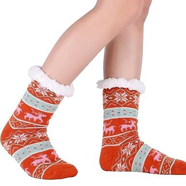 Women Slipper Socks Fleece Non Slip Sherpa grippers Winter Sleep ...