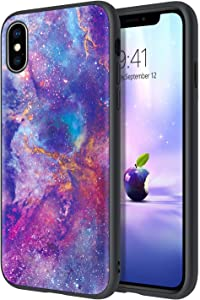 DUEDUE iPhone Xs Max Case,Glow in The Dark Nebula Galaxy Design Shockproof Slim Hybrid Hard PC Cover Anti Slip PU Leather Full Protective Phone Case for iPhone Xs Max, Purple/Black