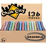 Chalk City Sidewalk Chalk, 136 Count,17 Different Colors, Jumbo Chalk, Non-Toxic, Washable, Art Set