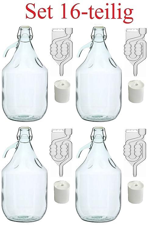 SET  Flasche Gärröhrchen  Wein machen Gärballon Glasballon Gärbehälter
