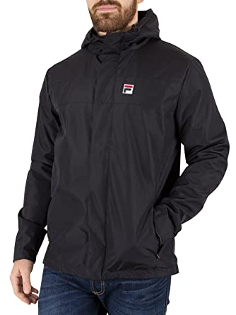 Fila Mens Vintage White Line Black Cardova Retro Hooded Windbreaker Jacket L