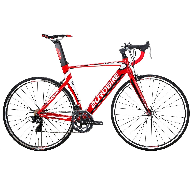 EUROBIKE XC7000 ロードバイク 700C アルミ合金自転車14S変速 钳形ブレーキ通勤通学 バイク B078WLNB2Y赤色