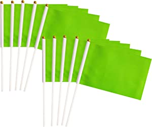 Green Stick Flags, 50 Pack Hand Held Small Green Flags On Stick,Perfect Decorations Themed Party,Sports Clubs,Festival Events,Garden,Golf Course,Playground,Flower Pot