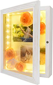 """HSicily LED Shadow Box Frame 11x14""""Shadow Box Display Case with Lights Wood Memory Box Linen Back Glass Window for Keepsakes Memorabilia Awards Bouquet Military Photos Rustic White"""