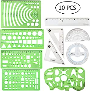 10 Pieces Plastic Drawings Templates Measuring Templates Geometric Rulers and Plastic Clear Rulers for Studying and Designing Building Supplies
