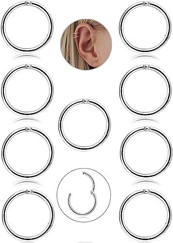 BESTEEL 9 Pcs 16G en Acier Inoxydable Nez Piercing Hoop Boucles doreilles pour Les Femmes Filles Anneau Nez Piercing Septum L/èvre Corps Bijoux 8-10mm