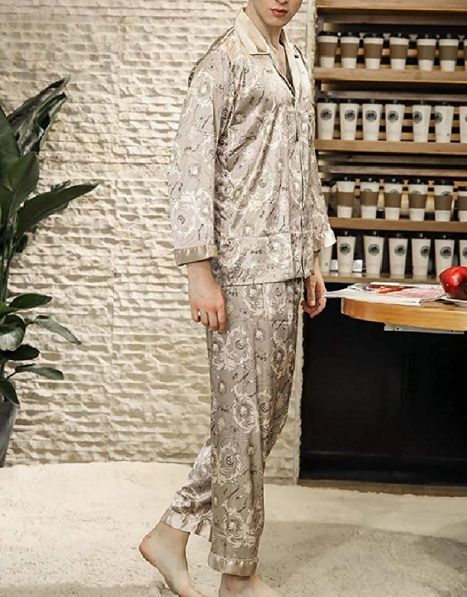 Comaba Mens Notch Lapel Satin Stylish Silky Homewear Sleepwear Set