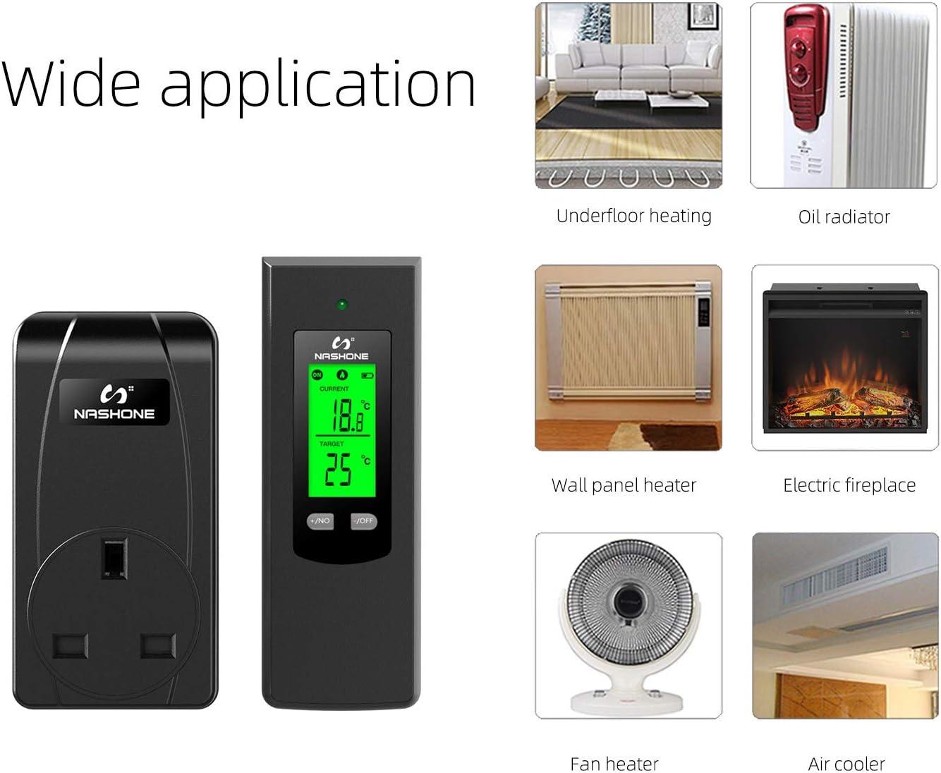t/él/écommande capteur de temp/érature int/égr/é 3250 W. Thermostat sans fil NASHONE avec prise contr/ôl/ée de la temp/érature avec mode chauffage et refroidissement