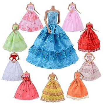 ASIV 10 Pz Vestido hecho a mano novia fiesta de hilado genuino para las muñecas de