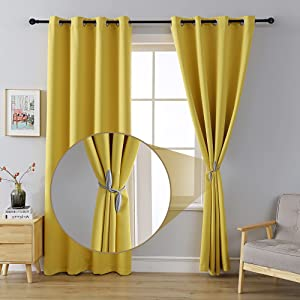 MOFV Blackout Curtain Panels - Home Decor Grommet Top Solid Room Darkening Window Treatments, Thermal Insulated Noise Reducing Drapes for Bedroom and Living Room (Yellow, 52''W x 84''L)