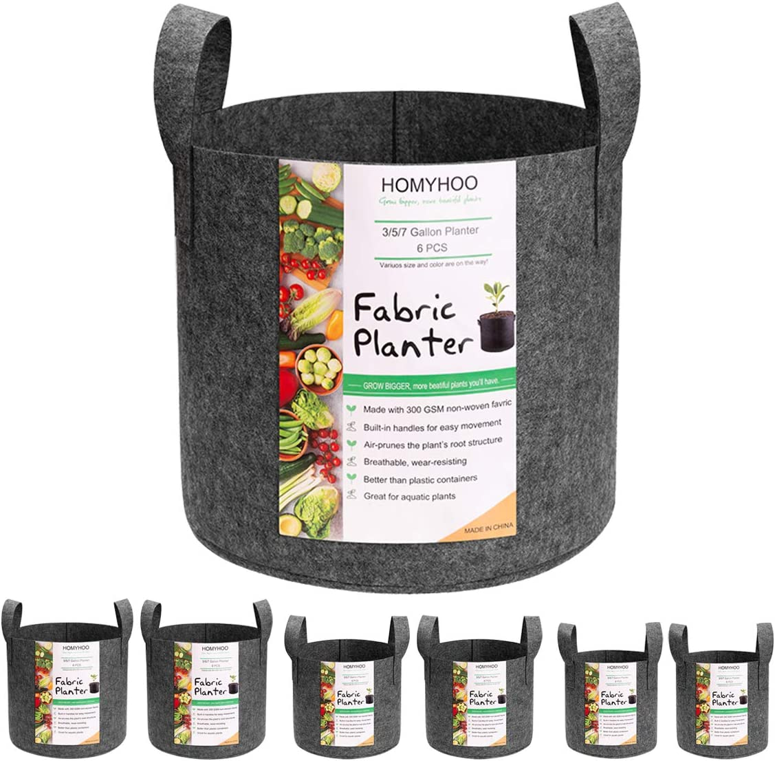 6-Pack Plant Grow Bags, Thickened Nonwoven Aeration Fabric Planter Pot 3/5/7 Gallon Variety Size with Sturdy Handles for Garden Indoor Plants