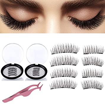 983b6281348 Magnetic False Eyelashes,Reusable Full Size 3 Magnet Lashes Glue-Free 3D Dual  Magnetic