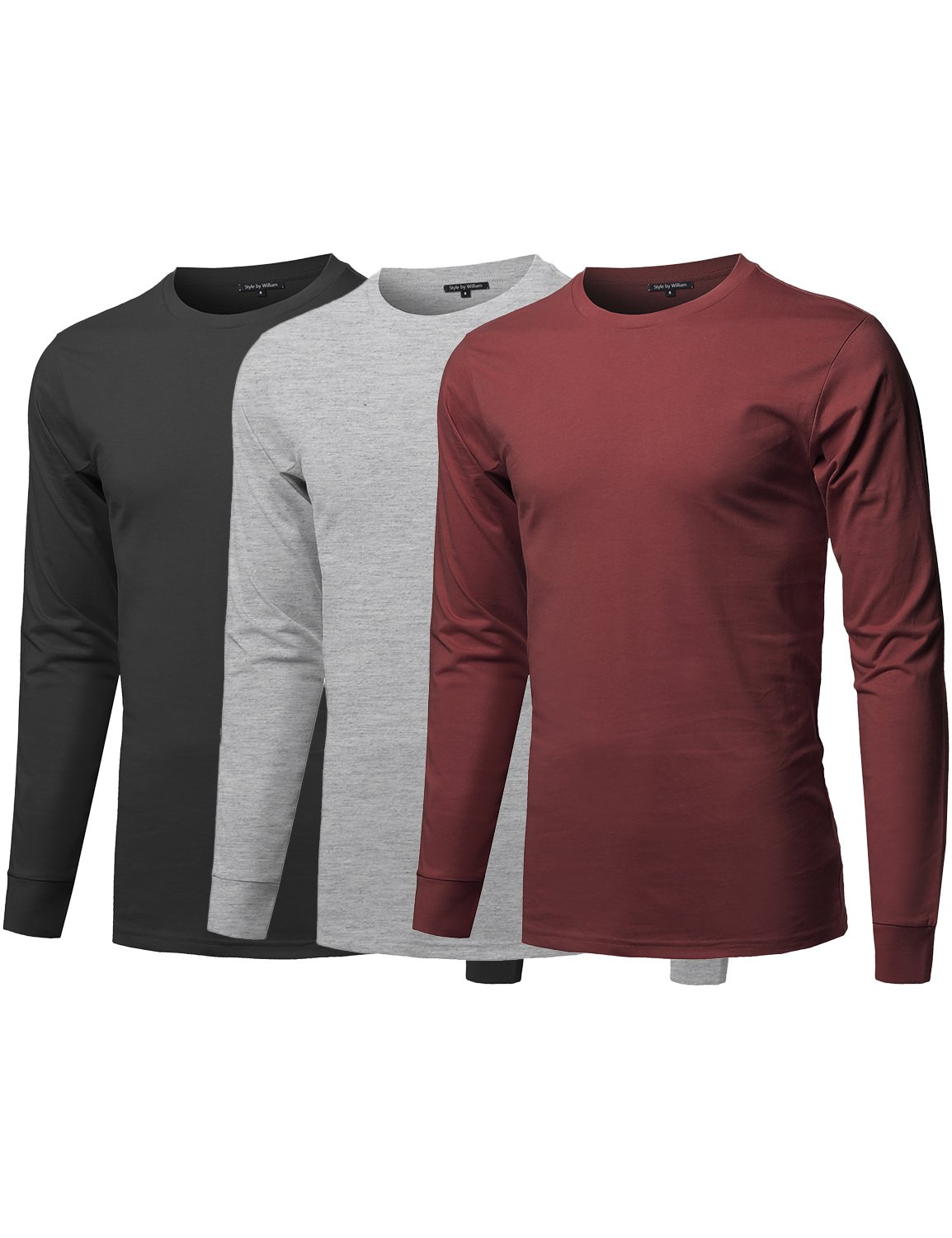 Style by William Causal Solid Basic 100% Ring Spun Cotton Long Sleeve T-Shirt Blk/Hgrey/BGNDY S