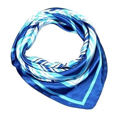 Bigood Carré Châle Rayures Écharpe Décoration Foulard Doux Léger Faux Soie  Bleu 631fb7d6d8d