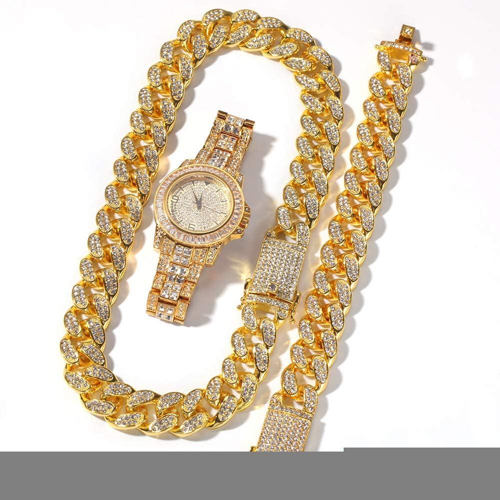 Reloj de Diamantes Completo de Gama Alta de Hip Hop, Pulsera chapada en Oro, Pulsera, Reloj, joyería, Hombres y Mujeres, Regalo de Tres Piezas (Oro, Plata)