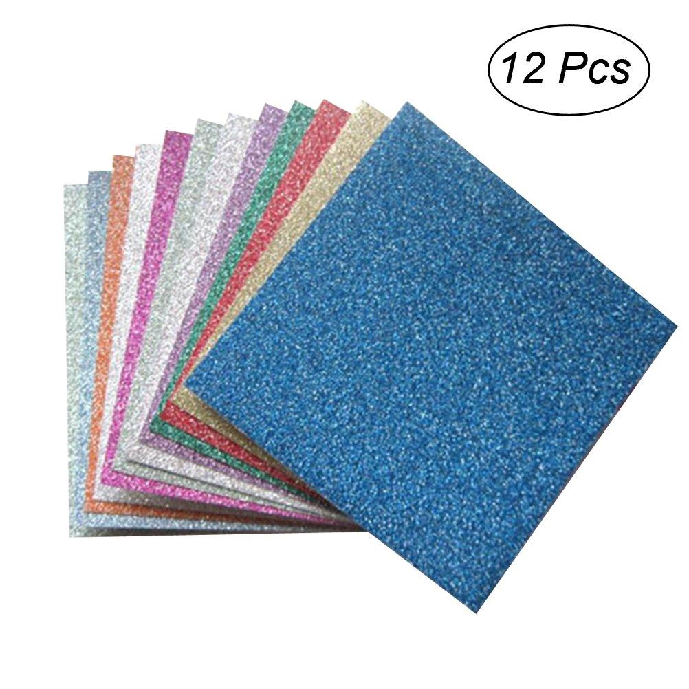 ROSENICE Fogli di carta origami glitter colorati per progetti di arte e artigianato 15x15 cm 12PCS