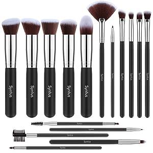 Syntus Makeup Brush Set, Premium Synthetic Foundation Powder Kabuki Blush Concealer Eye Shadow 16 Pcs Makeup Brushes, Black Silver