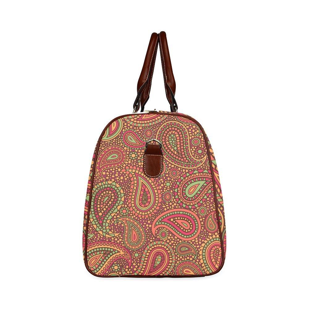 Red Paisley Mosaic Pattern Custom Waterproof Travel Tote Bag Duffel Bag Crossbody Luggage handbag